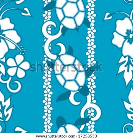 Seamless Hawaiin Turtle Pattern - Blue version - stock vector