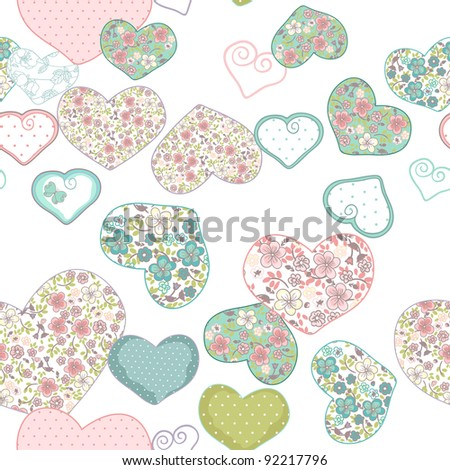 seamless heart pattern - stock vector