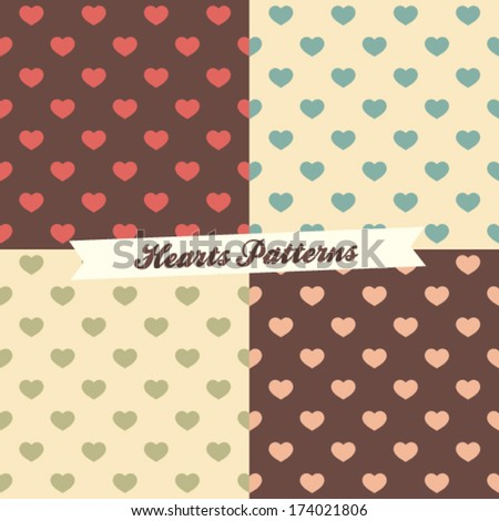 Seamless heart patterns (4 different color variation) - stock vector