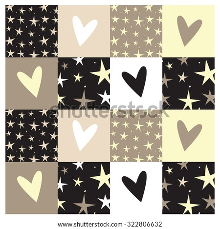 seamless hearts and stars pattern - stock vector