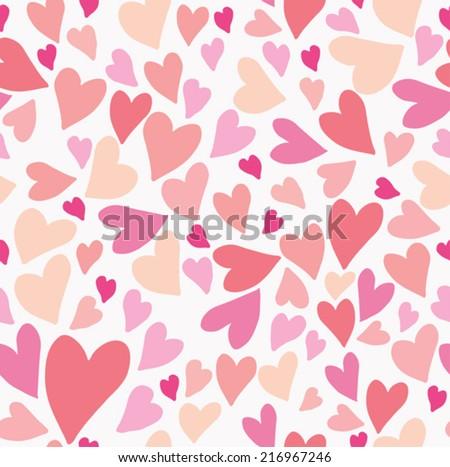 Seamless hearts pattern.  - stock vector
