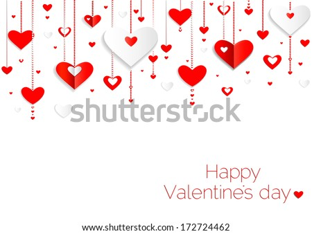 Seamless hearts pattern.Happy valentines day card. border design.vector - stock vector