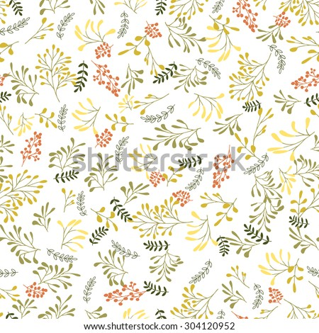 Seamless herbs, plants, branches hand-drawn pattern, background.Can be used for wallpaper, pattern fills, web page background,surface textures.  - stock vector