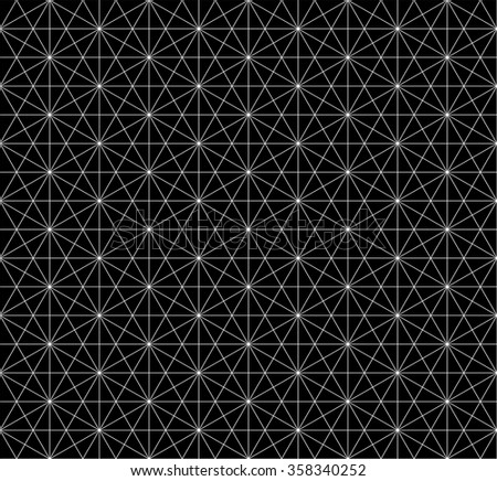 seamless hexagon pattern with monochrome.wire frame pattern - stock vector
