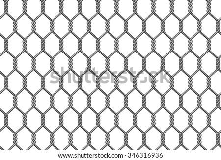 Seamless hexagonal reinforced chain link fence background. - stock vector