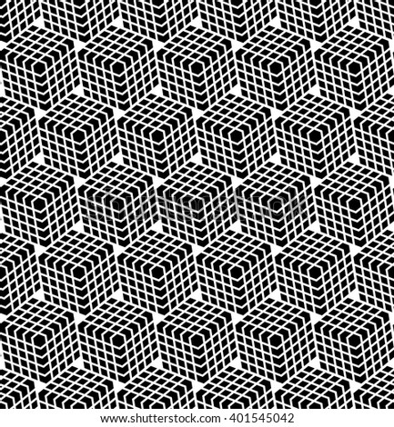 Seamless hexagons pattern. 3D illusion effect. Vector art. - stock vector