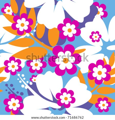 seamless Hibiscus flower Background - stock vector