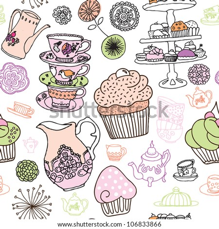 Seamless high tea party cupcake coffee background pattern in vector - stock vector