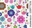 Seamless high tea retro flower party background pattern in vector - stock vector