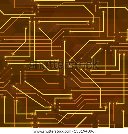 seamless high tech background with circuit board - stock vector