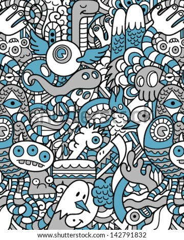Seamless Hipster Doodle Monster Collage Pattern Monotone - stock vector