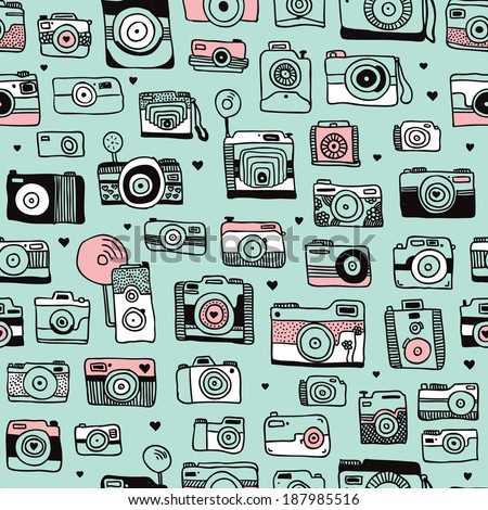 Seamless hipster toy camera illustration background pattern in vector - stock vector