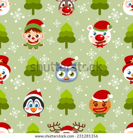 Seamless holiday background with Christmas icons - stock vector