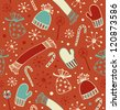 Seamless holiday Christmas pattern. Doodle lace backdrop with caps, scarfs, mittens and lollipops, sugarplums. Endless craft texture - stock vector