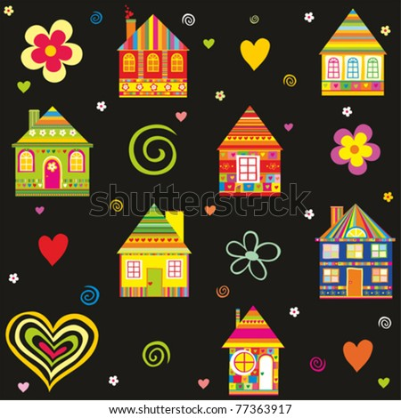 seamless home kid pattern house illustration in vector