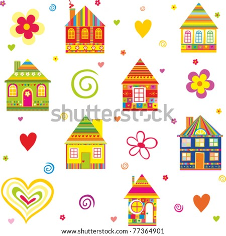 seamless home kid pattern house isolated on White background. Vector illustration