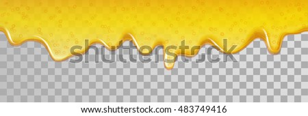 Seamless honey dripping honey. Vector flowing down honey background.