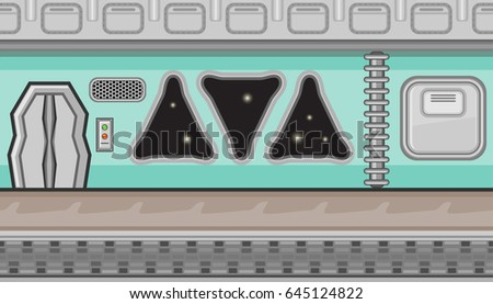 Seamless horizontal background with manhole and triangular windows for game