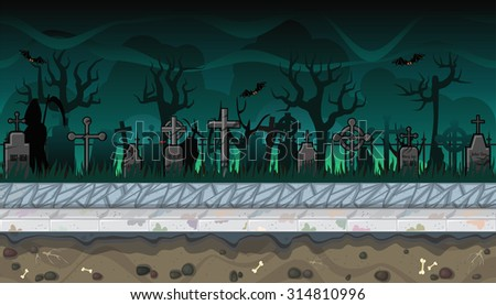 Seamless horizontal background with scary cemetery for video game - stock vector