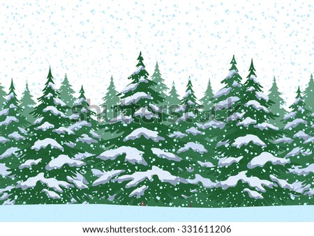Seamless Horizontal Christmas Winter Forest Landscape with Fir Trees and Snow. Vector - stock vector