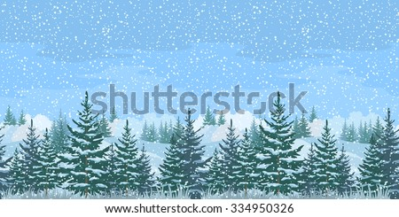Seamless Horizontal Christmas Winter Forest Landscape with Firs Trees and Sky with Snow. Eps10, contains transparencies. Vector - stock vector