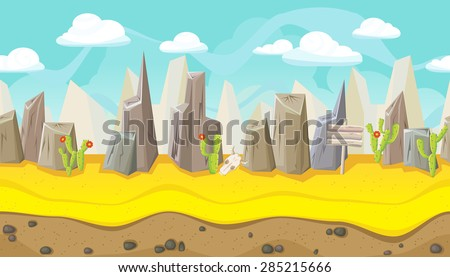 Seamless horizontal desert background with mountains and cactus for game - stock vector