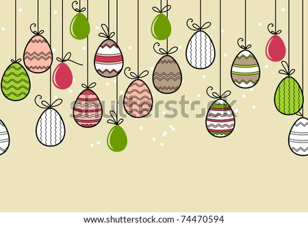 Seamless horizontal easter border with hanging eggs - stock vector
