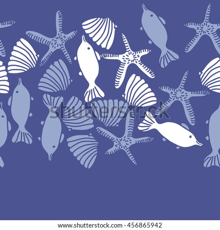 Seamless  horizontal   pattern of  marine inhibitions , doodles, starfishes, spot, hole,  fishes, shells, object, copy space. Hand drawn.
