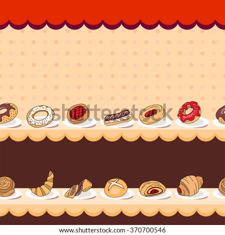 Seamless horizontal pattern with different kinds of pastry on counter. Endless horizontal texture for your design, announcements, postcards, posters, restaurant menu.