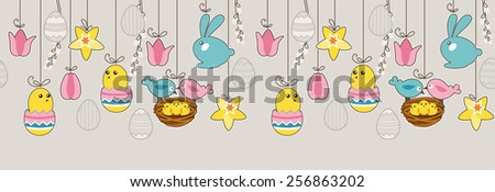 Seamless horizontal pattern with hanging eggs,rabbits and birds - stock vector