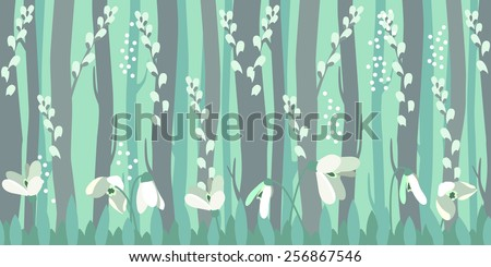 Seamless horizontal pattern with spring snowdrops in forest - stock vector