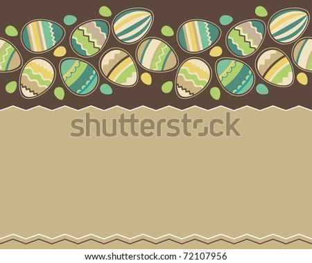 Seamless horizontal spring pattern with easter eggs - stock vector