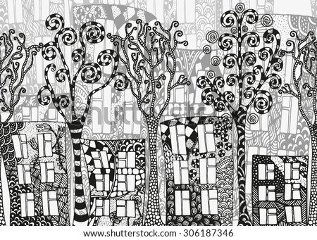 Seamless horizontal street background. Artistically houses and trees.  Autumn. Pattern for coloring book. Made by trace from sketch. Zentangle. Black and white pattern in vector. Used a clipping mask. - stock vector