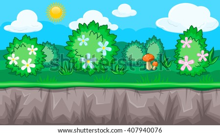 Seamless horizontal summer background with blossoming shrubs and orange mushroom for video game - stock vector