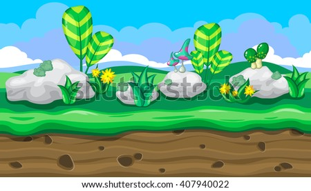 Seamless horizontal summer background with white stones and bright mushrooms for video game - stock vector