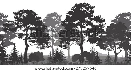 Seamless Horizontal Summer Forest with Pine, Fir Tree, Grass and Bush Black and Gray Silhouettes on White Background. Vector - stock vector