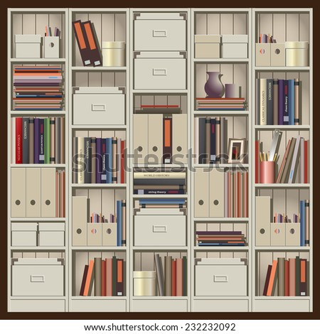 seamless horizontal vector illustration. composition shelves with books, files and other trifles. can be used as a background illustration of an animation, etc.