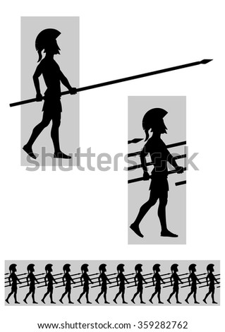 Seamless horizontal vector illustration of marching warriors with spears. Included are individual tile and separate shape silhouettes.