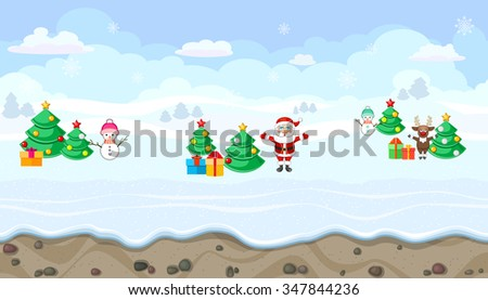 Seamless horizontal winter background with Christmas characters for video game - stock vector