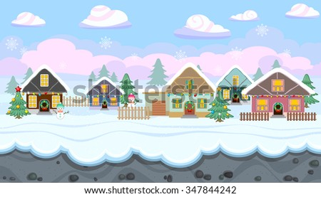 Seamless horizontal winter background with holiday houses for video game - stock vector