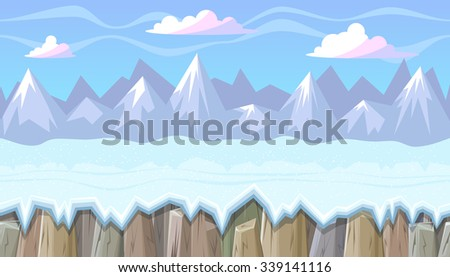 Seamless horizontal winter background with rocky mountains for video game
