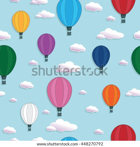 seamless hot air balloon pattern decoration, with clipping mask