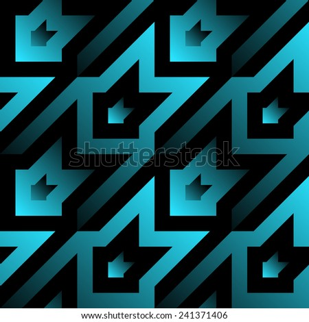 Seamless houndstooth in modern style. Blue gradients on black - stock vector
