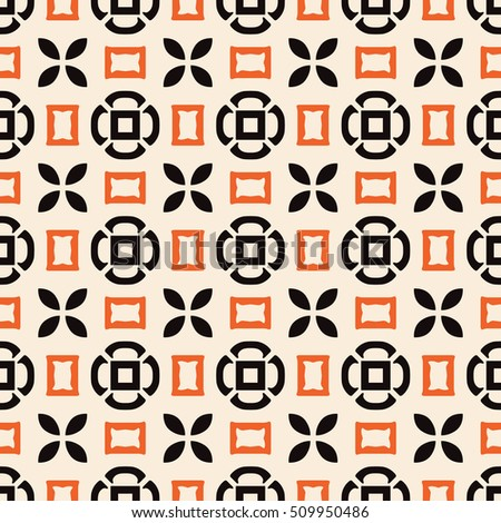 Seamless illustrated pattern made of abstract elements in beige, orange, black