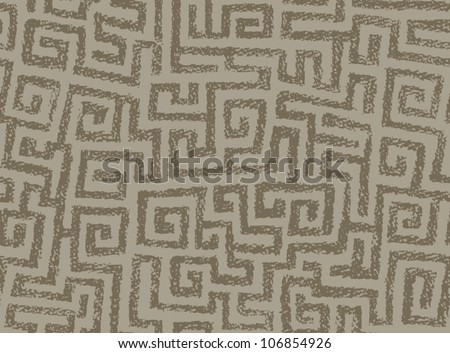 Seamless illustrated spiraling maze pattern that looks like a pastel drawing. - stock vector