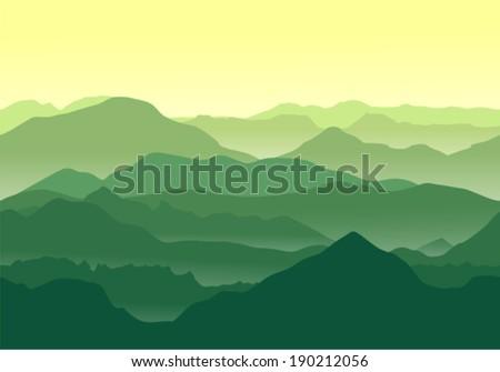 Seamless illustration. Green mountains landscape. - stock vector
