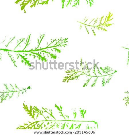 Seamless imprints pattern of the branched herbs. Grungy botanics stamp.