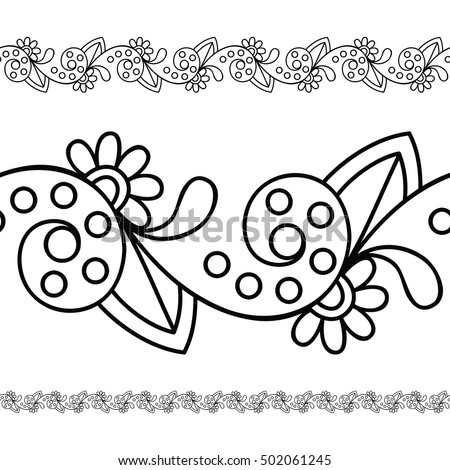Seamless Indian Border For Coloring Pages Invitations And Textile