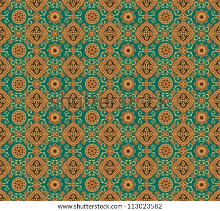 Seamless indian wallpaper pattern - stock vector