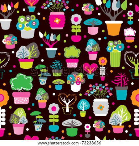 Seamless interior decoration plants spring and autumn tree pattern in vector - stock vector